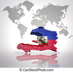 Haiti on 3d map country of haiti highlighted in red on blue map 3d map of haiti with haiti flag on a world map background gumiabroncs Images