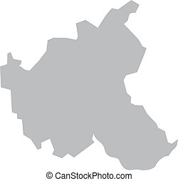 Map of Hamburg with borders in gray