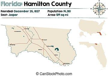 Map of Hamilton County in Florida