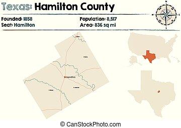 Map of Hamilton county in Texas