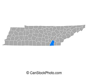 Map of Hamilton in Tennessee