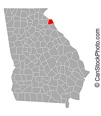 Map of Hart in Georgia