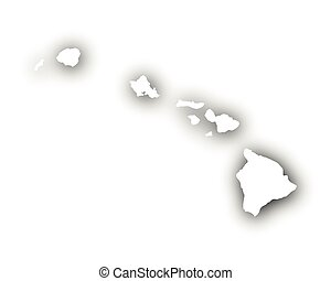 Map of Hawaii with shadow