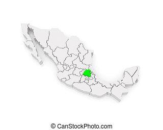 Map of Hidalgo. Mexico.