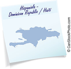 Map of hispaniola as sticky note
