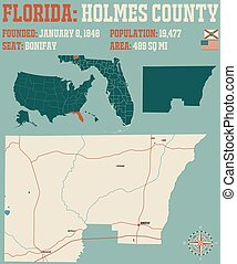 Map of Holmes County in Florida