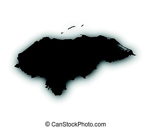 Map of Honduras with shadow