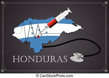 Map of Honduras with Stethoscope and syringe.