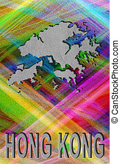 Map of Hong Kong, colorful background