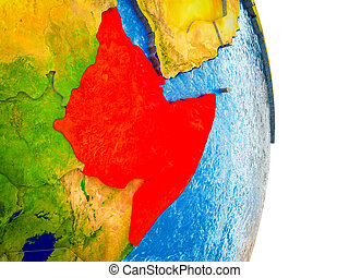 Map of Horn of Africa on 3D Earth
