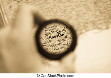 Map of Houston - Selective focus on antique map of Houston