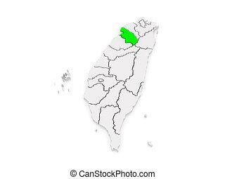 Map of hsinchu county. taiwan. 3d.