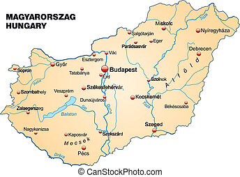 Map of Hungary as an overview map in pastel orange