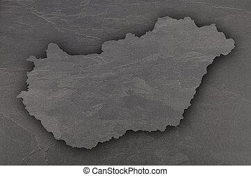 Map of Hungary on dark slate