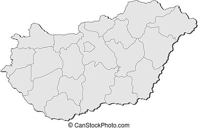 Map of Hungary - Political map of Hungary with the several...