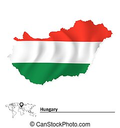 Map of Hungary with flag