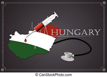 Map of Hungary with Stethoscope and syringe.