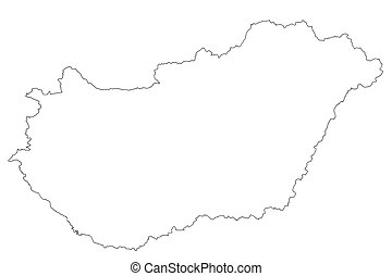map of Hungary with white background