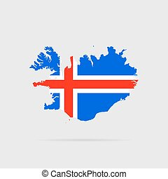 Iceland flag. Silhouette. Vector