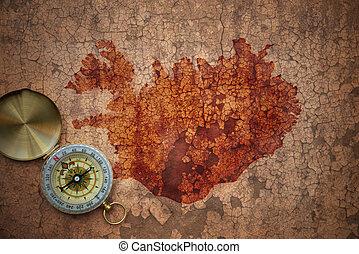 map of iceland on a old vintage crack paper