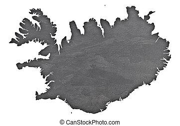 Map of Iceland on dark slate