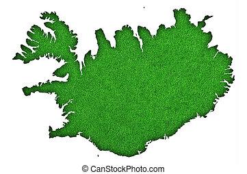 Map of Iceland on green felt