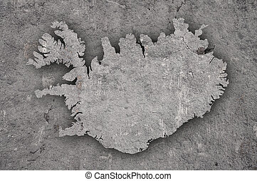 Map of Iceland on weathered concrete