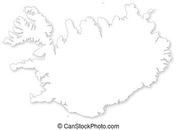 Map of Iceland. WGS 84 World Mercator projection. - Vector...