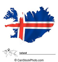 Map of Iceland with flag - vector illustration