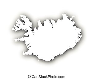 Map of Iceland with shadow