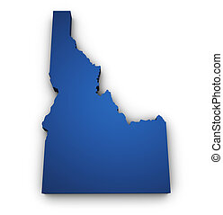 Map Of Idaho 3d Shape - Shape 3d of Idaho map colored in...