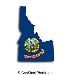 Map of Idaho filled with the state flag