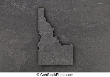Map of Idaho on dark slate
