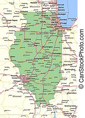Map of Illinois. Shows state borders, urban areas, place names, roads and highways. Projection: Mercator.