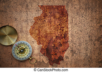 map of illinois state on a old vintage crack paper ...