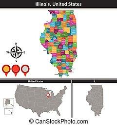 Map of Illinois, US