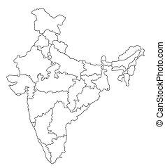 An outlined map of India. All isolated on white background.