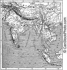 Map of India and Indochina vintage engraving