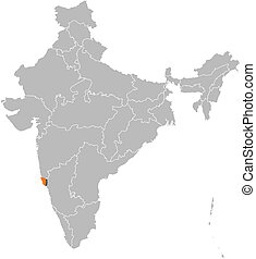 Map of India, Goa highlighted