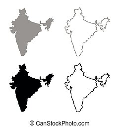 Map of India icon set grey black color