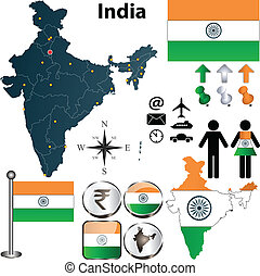 Map of India - Vector of India set with detailed country...