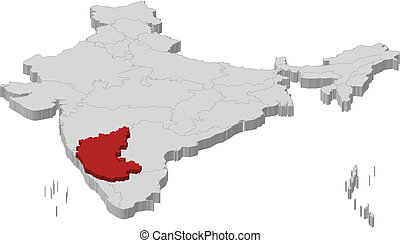 Map of India, Karnataka highlighted - Political map of India...