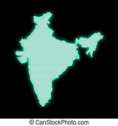 Map of India, old green computer terminal screen