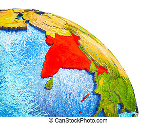 Map of India on 3D Earth