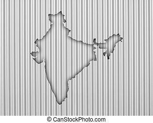 Map of India on corrugated iron