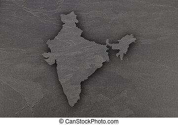 Map of India on dark slate
