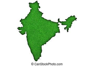 Map of India on green felt