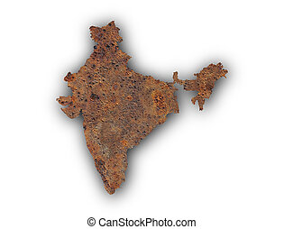 Map of India on rusty metal