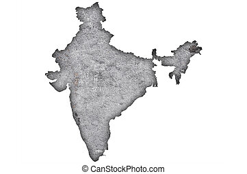 Map of India on weathered concrete
