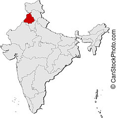 Map of India, Punjab highlighted - Political map of India...